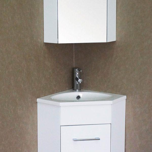 Florence 16 Inch Corner Vanity Glossy White V8013 16 01 Blossom Kitchen Bath Supply Corporation